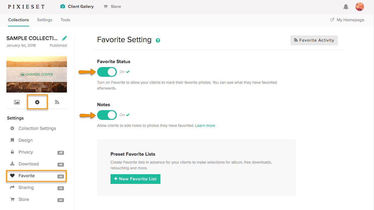 Add To Favorites how does proofing with favorites work? – pixieset - help center