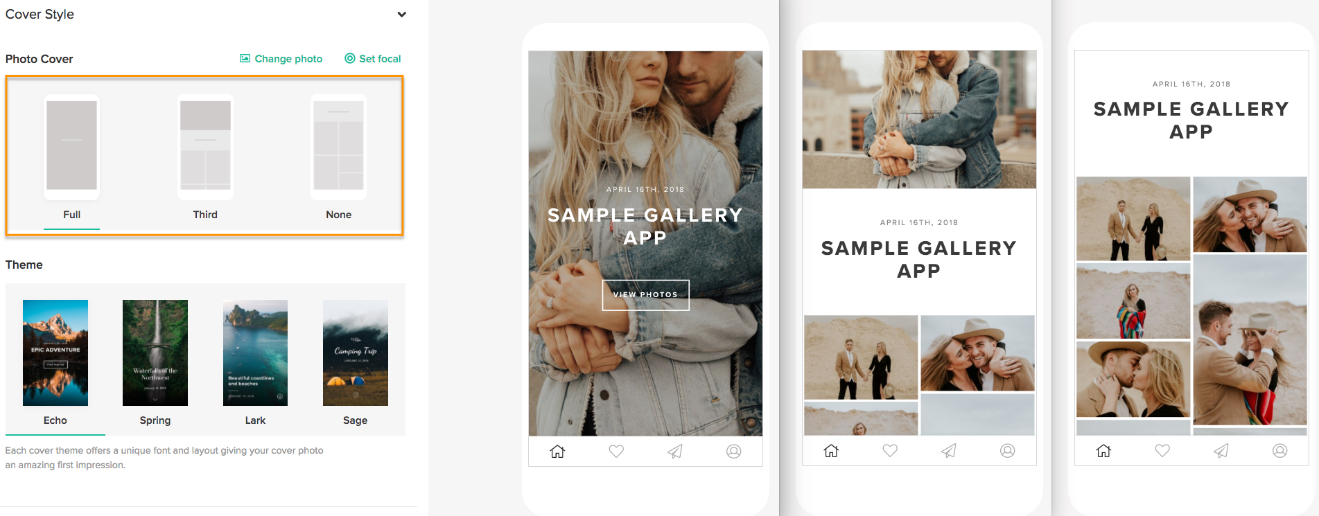 what are my customization options for a mobile gallery app